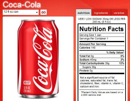 Coca cola nuitrition facts