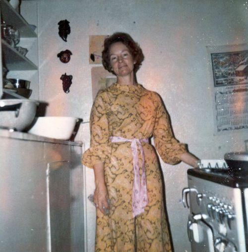 Colleen in kitchen.