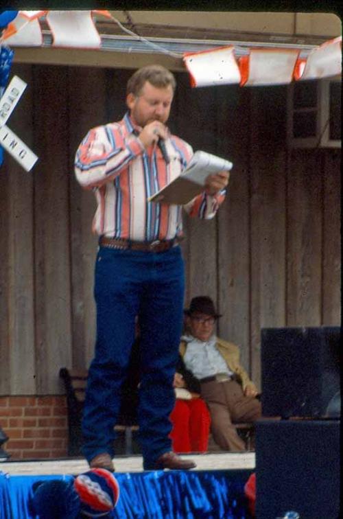 Dan announcing at Heritage Day, Caddo, OK.